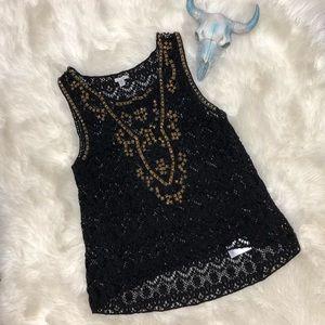 Ecote Black Lace Crochet Embellished Stud Blouse